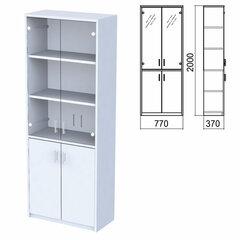 "Шкаф закрытый со стеклом ""Арго"", 770х370х2000 мм, серый (КОМПЛЕКТ)"